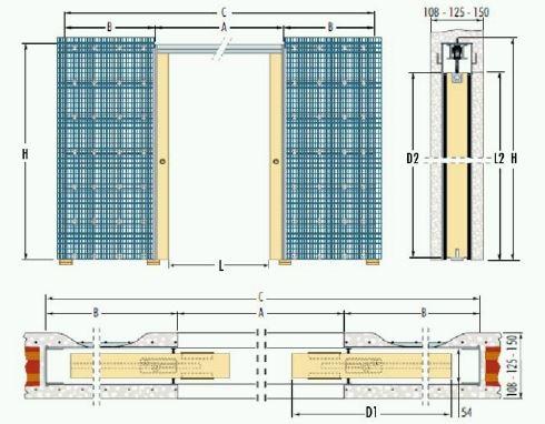Dvoukřídlé pouzdro do zdiva 90+90cm, průchod 167cm, celkem šířka 361cm, série Dvoukřídlé