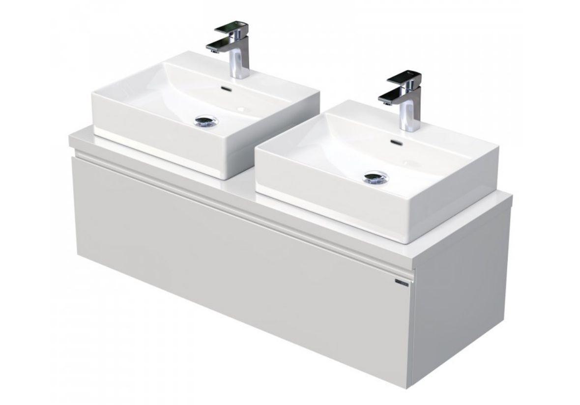 Skříňka 120x46x51,6 cm s 2 umyvadly na desku 50x42x13 cm a se 2 zásuvkami