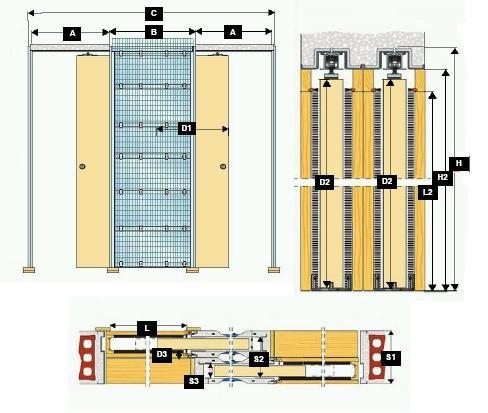 Pouzdro Zákryt do zdiva 110+110cm, hr.průchod 2x117cm, celk.šířka 354cm, síla stěny 20,5cm, série Zákryt