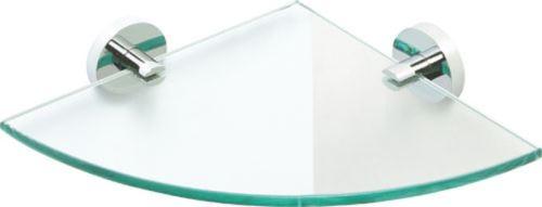 Skleněná polička rohová, 25x25cm, mléčné sklo, série Omega Economy