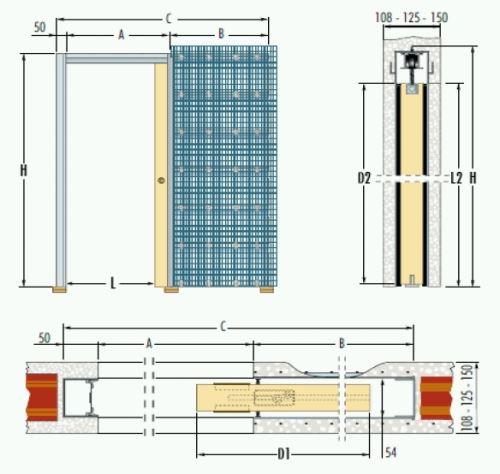 Jednokřídlé pouzdro do zdiva 83,5cm, průchod 91,5cm, celkem šířka 185,5cm, série 01.Jednokřídlé