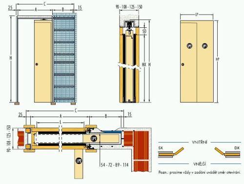 Pouzdro do zdiva 80cm, průchod 85cm, celkem šířka 131,5cm, síla stěny 10cm, série 01.Jednokřídlé