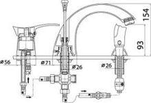 Vanová stojánková baterie, chrom, pro montáž na vany se 3 montážními otvory, série Padwa