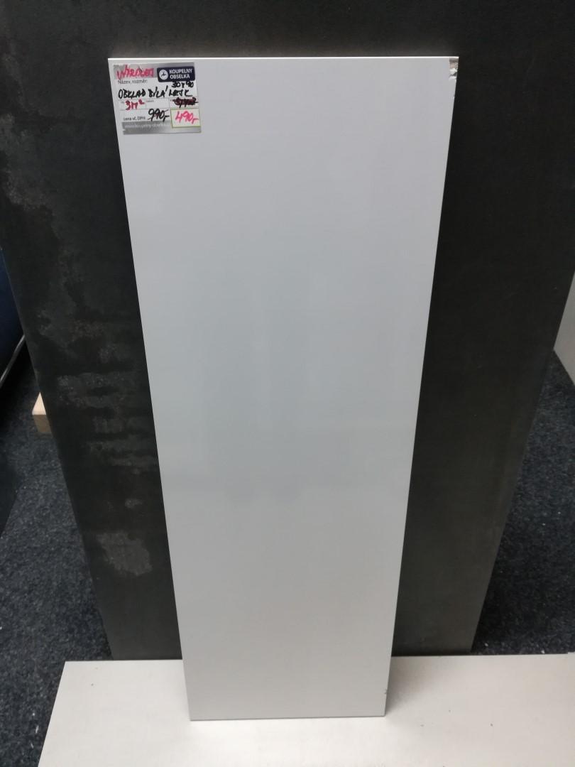 Obklad bílá 30x90cm, Rectifikovaná, Lesk, série Bianchi Bianco