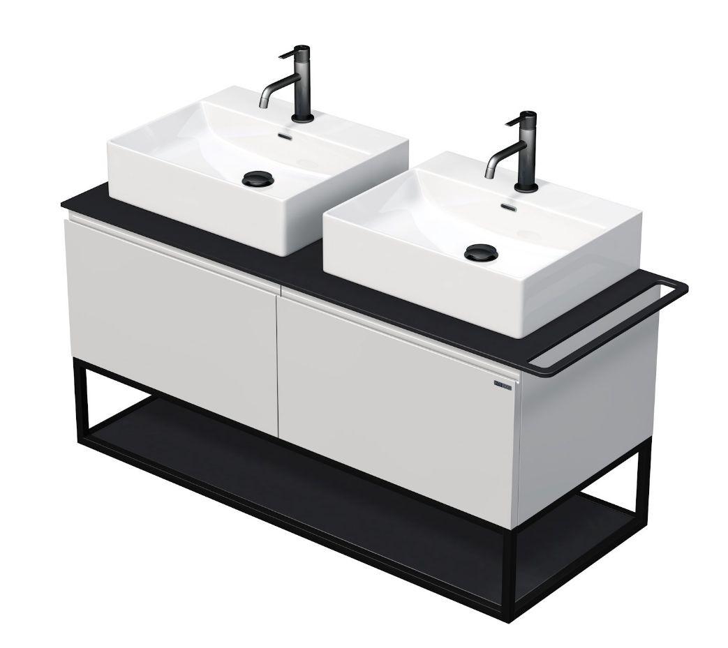Skříňka 120x50,5x50 cm se 2 umyvadly 50x42x13 cm a se 2 zásuvkami