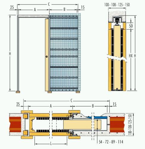Jednokřídlé pouzdro do zdiva 110cm, průchod pro obložky 117cm, celkem šířka 233,5cm, série 01.Jednokřídlé