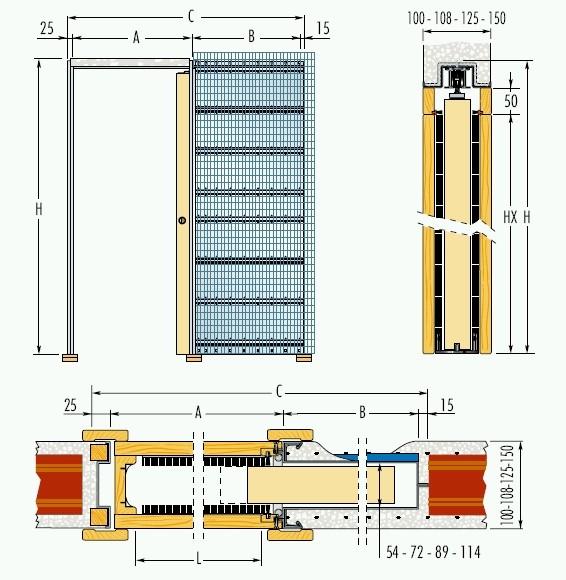 Jednokřídlé pouzdro do zdiva 100cm, průchod pro obložky 107cm, celkem šířka 213,5cm, série 01.Jednokřídlé